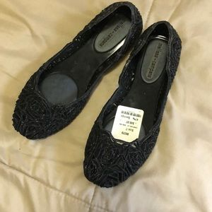 Woman's sparkly black Melissa jelly slide ons